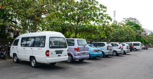 Many cars parking at the Lotus temple in Bali, Indonesia Royalty Free Stock Photography