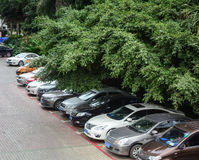 Many cars parking at the park in Nanning, China.  Royalty Free Stock Photos
