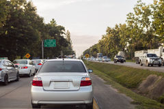 Many cars on the road. Many cars jam on the road royalty free stock images