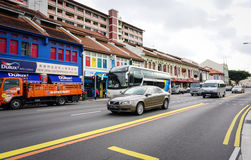 Many cars running on street in Geyland, Singapore Stock Photography