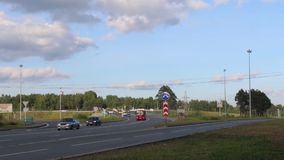 Many cars, trucks move on road at summer day. Time lapse stock footage