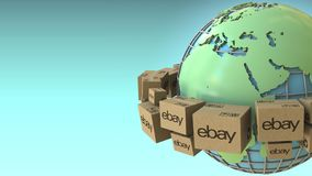 Many cartons with eBay logo around the world, Africa and Europe emphasized. Conceptual editorial 3D rendering. Cartons with logo around the world, conceptual royalty free illustration