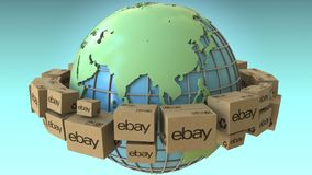 Many cartons with eBay logo around the world, Asia emphasized. Conceptual editorial 3D rendering. Cartons with logo around the world, conceptual editorial 3D royalty free illustration