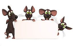 Many cartoon mice with a blank board. 3d Illustration,  on the white background Stock Photography