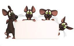 Many cartoon mice with a blank board Stock Photography
