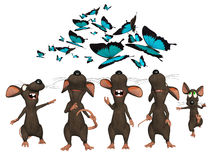 Many cartoon mice looking upwards to butterflies Royalty Free Stock Images