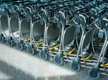 Many carts in an airport Stock Photography