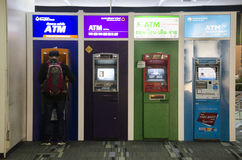 Many cash machine or ATM for Thai people and foreigner travelers. Make a withdrawing at Don Mueang international airport on February 21, 2017 in Bangkok stock photography