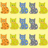 Many cats. Many sit bright ornamental cats royalty free illustration