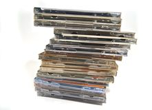 Many cd & dvd boxes Royalty Free Stock Image
