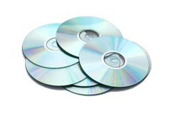 Many CD's isolated. On the white background Stock Photography
