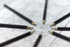 Many centralized pencils Stock Images