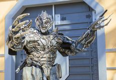 Los Angeles, USA, 2016:02:25 transformer Robot at Universal Studios in Los Angeles. Royalty Free Stock Photo