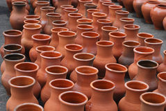 Many ceramic jugs outsides Royalty Free Stock Images
