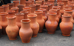 Many ceramic jugs outsides Royalty Free Stock Image