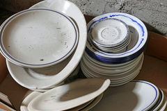 Many ceramic plates and bowls broken Stock Image