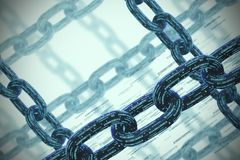 Many chains, a blockchain concept, gray closeup. Diagonal chains made of zeros and ones intersect. Cryptocurrency and mining. A bitcoin metaphor. Gray background Royalty Free Stock Photography