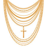 Many chains golden metallic necklace Stock Photos
