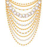 Many chains golden metallic necklace royalty free illustration