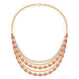 Many chains golden metallic necklace with diamonds Stock Photo