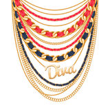 Many chains golden metallic necklace. Stock Image