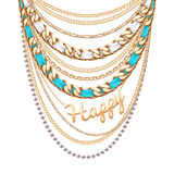 Many chains golden metallic necklace Stock Photo