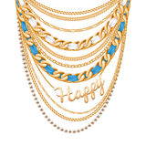 Many chains golden metallic necklace Stock Photography