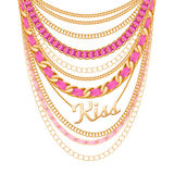 Many chains golden metallic necklace. Royalty Free Stock Image