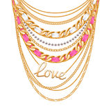Many chains golden metallic necklace Stock Image
