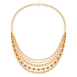 Many chains golden metallic necklace Royalty Free Stock Photography