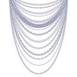 Many chains silver metallic necklace Stock Photos