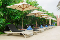 Many chairs and white umbrellas Royalty Free Stock Images