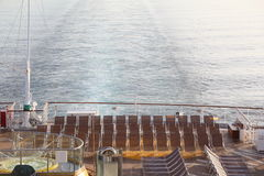 Many chaise longues on deck of cruise ship Royalty Free Stock Photography