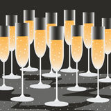 Many champagne fill in champagne glasses with glitter black background Stock Photography