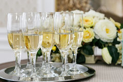 Many of the champagne glasses on the table Stock Image