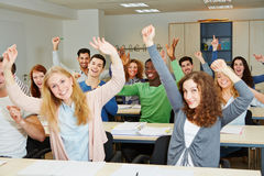 Many cheering students Royalty Free Stock Image