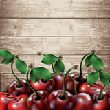 Many cherries on wooden texture background. Stock Images