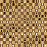 Many chess icons on chessboard, seamless pattern. A lot of chess icons on chessboard, seamless pattern stock illustration