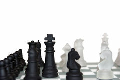 Many chess pieces isolated against white Stock Photos