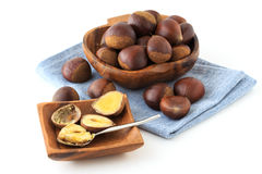 Many chestnut. On the table royalty free stock photo