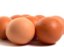 Many chiken brown eggs Royalty Free Stock Photos