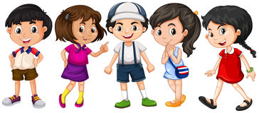Many children with big smile. Illustration Royalty Free Stock Photo