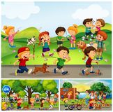 Many children doing things in park. Illustration Royalty Free Stock Photos
