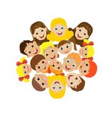 Many children got up in a circle on a white background Stock Photos