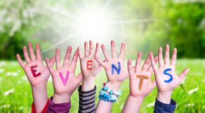 Free Many Children Hands Building Word Events, Grass Meadow Stock Image - 182067571