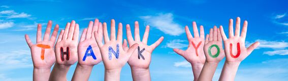 Many Children Hands Building Word Thank You, Blue Sky