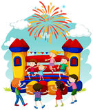 Many children jumping on bouncing castle Royalty Free Stock Images