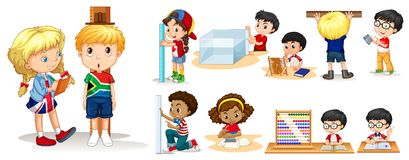 Many children measuring things with different tools. Illustration Stock Photo