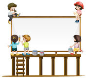 Many children painting the board Royalty Free Stock Photography