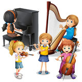 Many children playing classical music Royalty Free Stock Images